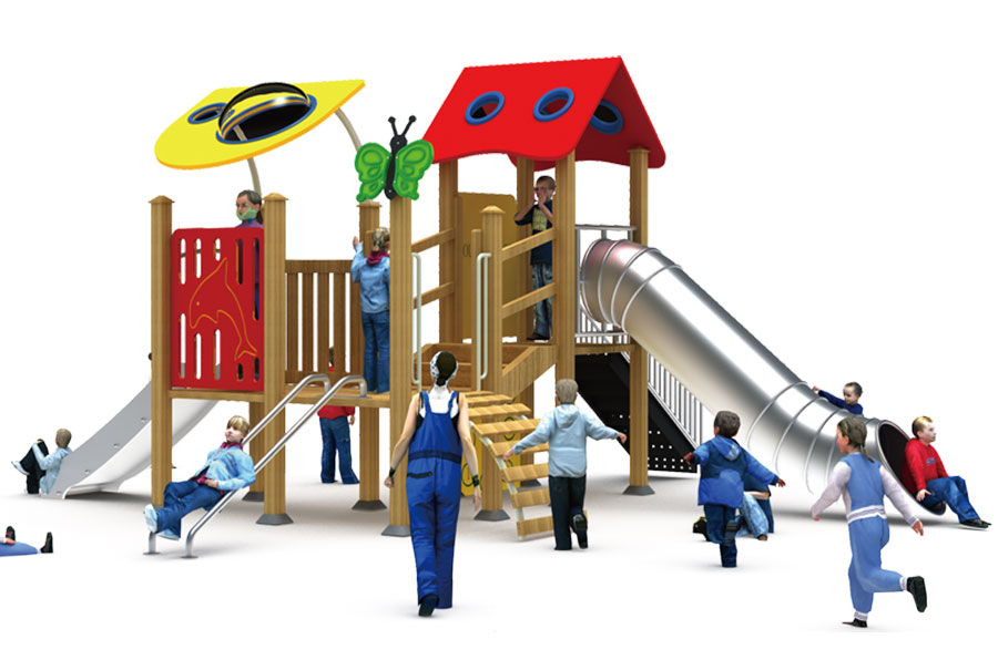 组合滑梯+游乐设备+小博士+滑梯+原木滑梯+不锈钢组合滑梯3
