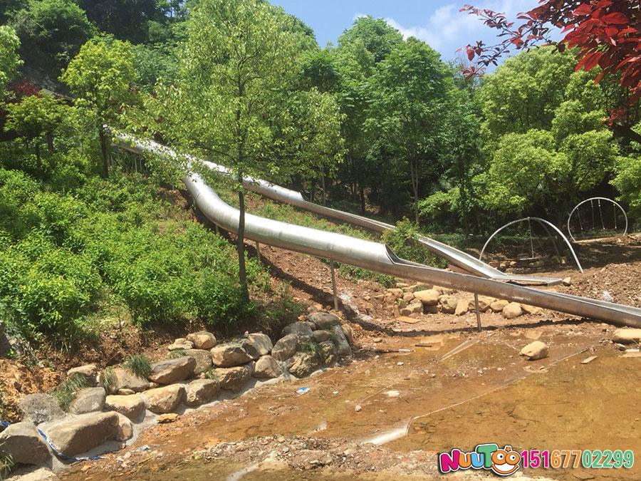 乐图非标游乐+不锈钢滑梯+杭州西湖景区坡地滑梯-(1)