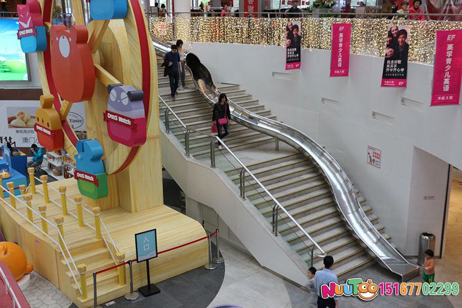 乐图非标游乐+北京枫蓝国际购物中心+不锈钢半圆滑梯-(6)