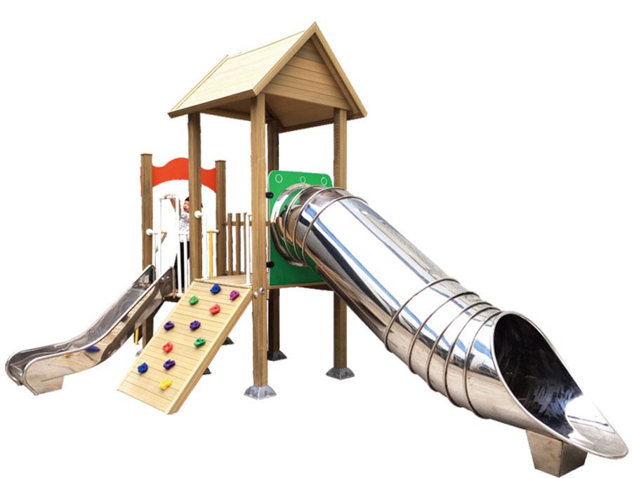 组合滑梯+游乐设备+小博士+滑梯+原木滑梯+不锈钢组合滑梯40