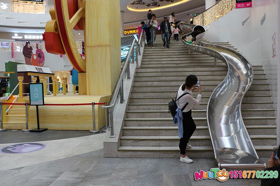 乐图非标游乐+北京枫蓝国际购物中心+不锈钢半圆滑梯-(19)