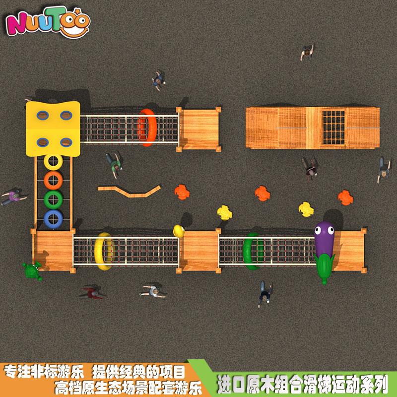 定制經典高端實木組合滑梯 各種款式兒童組合滑梯 游樂設施廠家LT-ZH016